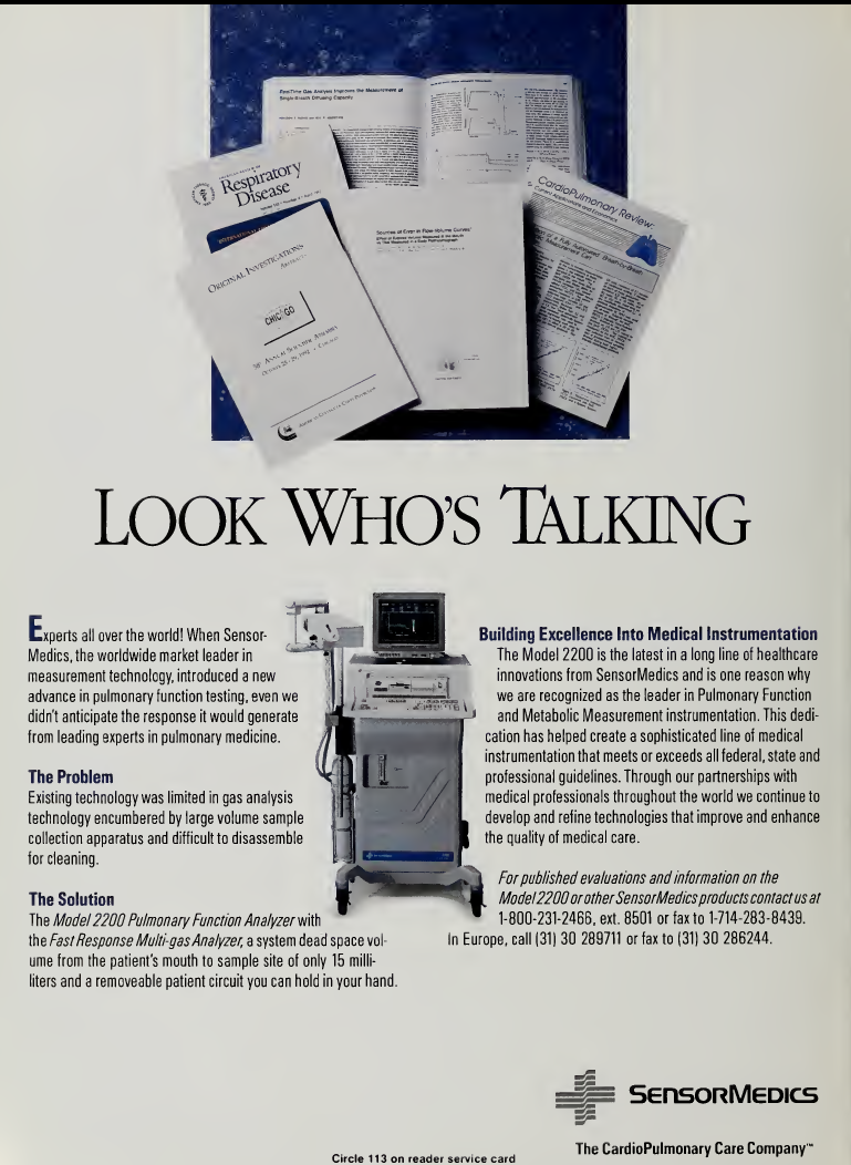 Sensormedics_2200_Pulmonary_Function_Analyzer_1993_Advertisement