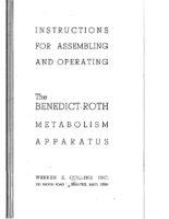 Collins – Instructions for Assembling and Operating the Benedict-Roth Metabolism Apparatus – 1962